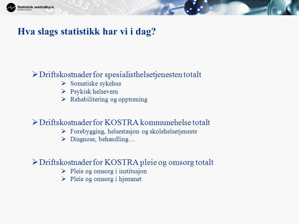  Driftskostnader for spesialisthelsetjenesten totalt  Somatiske sykehus  Psykisk helsevern  Rehabilitering og opptrening  Driftskostnader for KOS