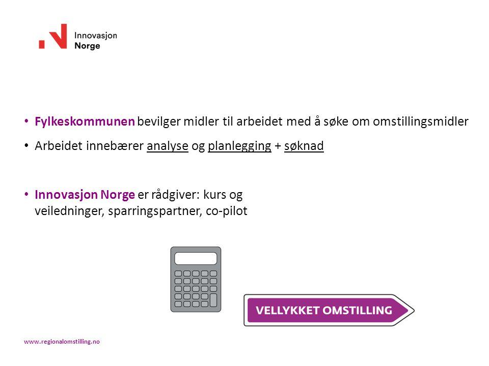Fylkeskommunen bevilger midler til arbeidet med å søke om omstillingsmidler Arbeidet innebærer analyse og planlegging + søknad Innovasjon Norge er rådgiver: kurs og veiledninger, sparringspartner, co-pilot www.regionalomstilling.no
