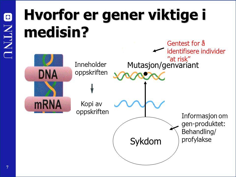 7 Hvorfor er gener viktige i medisin? Utfører oppgaven Mutasjon/genvariant Sykdom Informasjon om gen-produktet: Behandling/ profylakse Gentest for å i