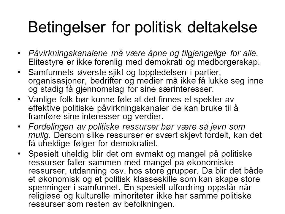 Betingelser for politisk deltakelse Påvirkningskanalene må være åpne og tilgjengelige for alle. Elitestyre er ikke forenlig med demokrati og medborger