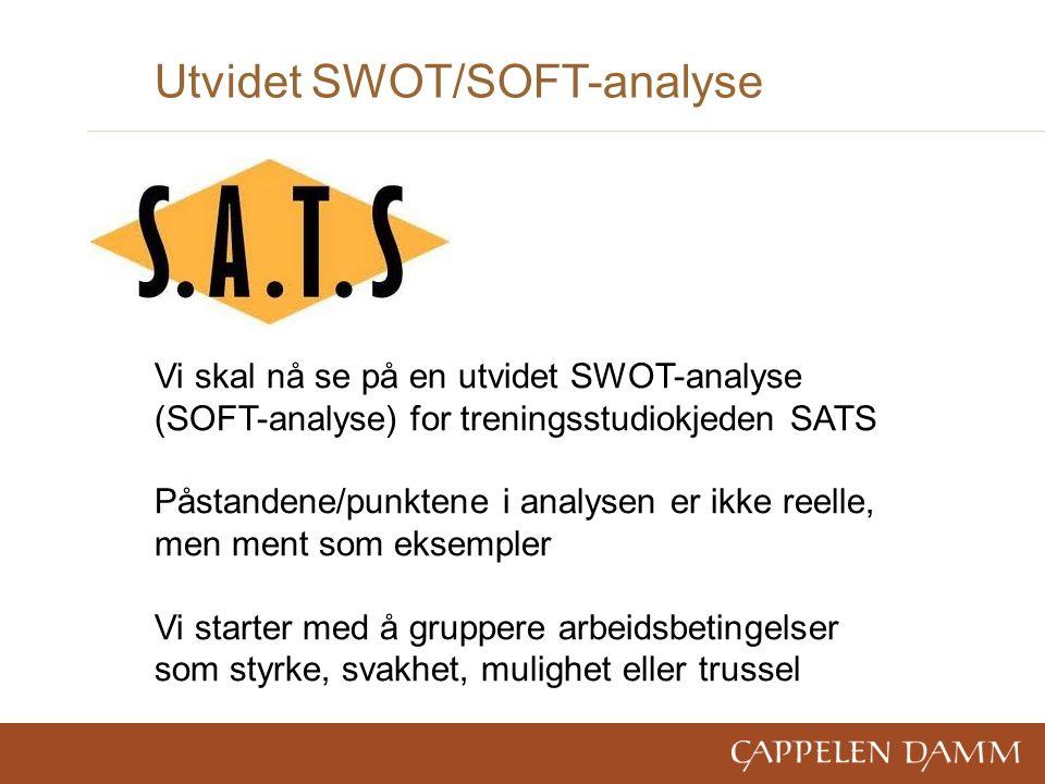 Utvidet SWOT/SOFT-analyse Vi skal nå se på en utvidet SWOT-analyse (SOFT-analyse) for treningsstudiokjeden SATS Påstandene/punktene i analysen er ikke reelle, men ment som eksempler Vi starter med å gruppere arbeidsbetingelser som styrke, svakhet, mulighet eller trussel