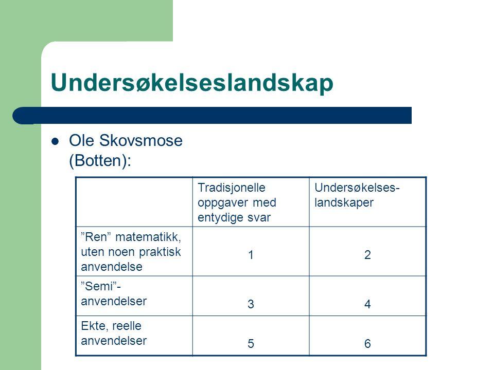 Undersøkelseslandskap Ole Skovsmose (Botten): Tradisjonelle oppgaver med entydige svar Undersøkelses- landskaper Ren matematikk, uten noen praktisk anvendelse 12 Semi - anvendelser 34 Ekte, reelle anvendelser 56