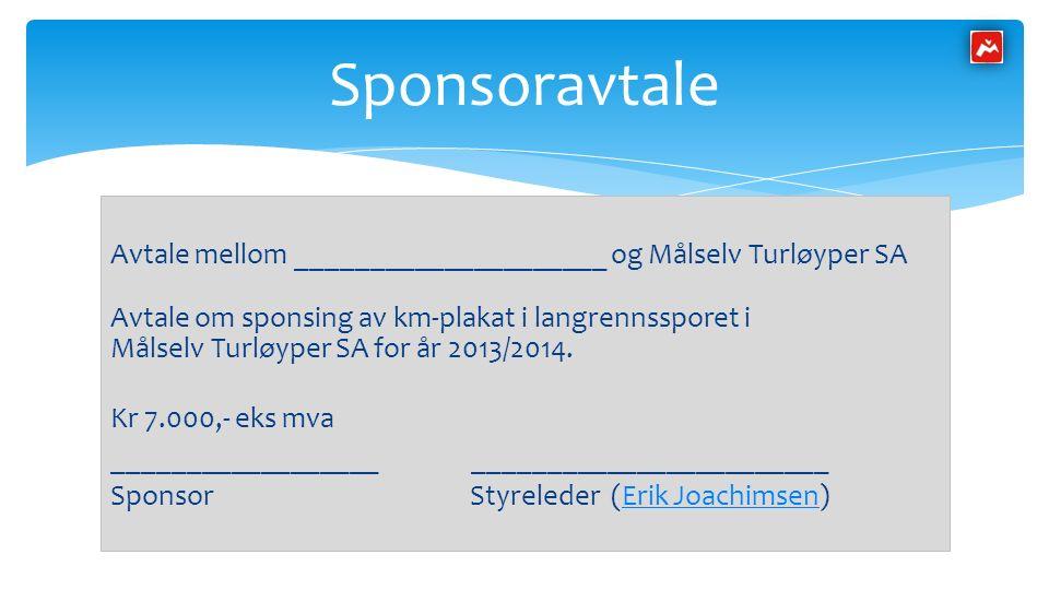 Avtale mellom _____________________ og Målselv Turløyper SA Avtale om sponsing av km-plakat i langrennssporet i Målselv Turløyper SA for år 2013/2014.