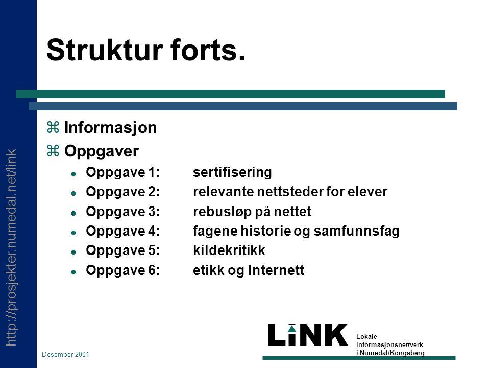 http://prosjekter.numedal.net/link LINK Lokale informasjonsnettverk i Numedal/Kongsberg Desember 2001 Struktur forts.