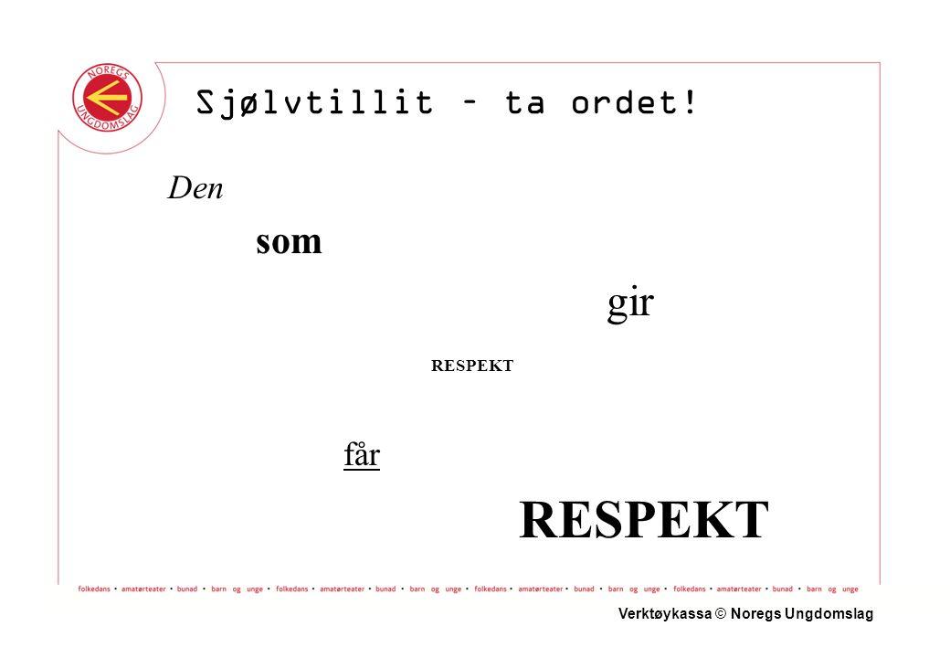 Framføringa Innleiing Hovuddel Avslutning Verktøykassa © Noregs Ungdomslag Sjølvtillit – ta ordet!