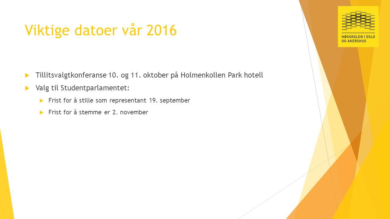 Viktige datoer vår 2016  Tillitsvalgtkonferanse 10. og 11. oktober på Holmenkollen Park hotell  Valg til Studentparlamentet:  Frist for å stille so