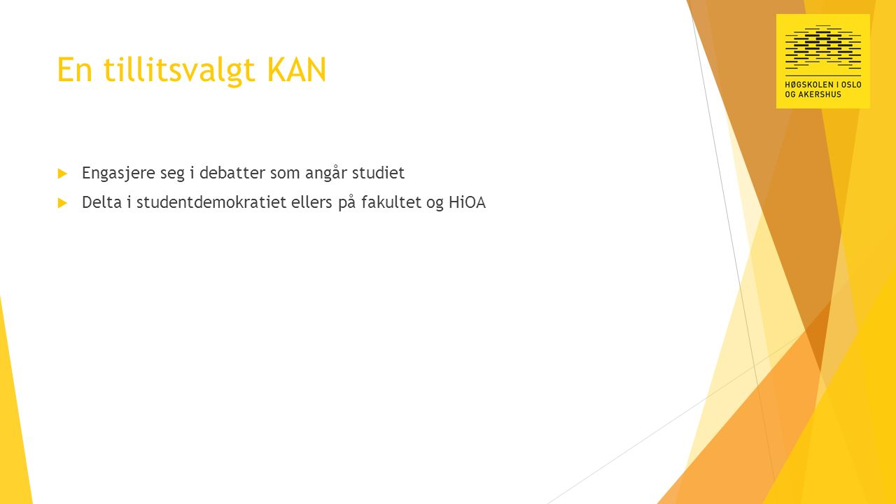 En tillitsvalgt KAN  Engasjere seg i debatter som angår studiet  Delta i studentdemokratiet ellers på fakultet og HiOA