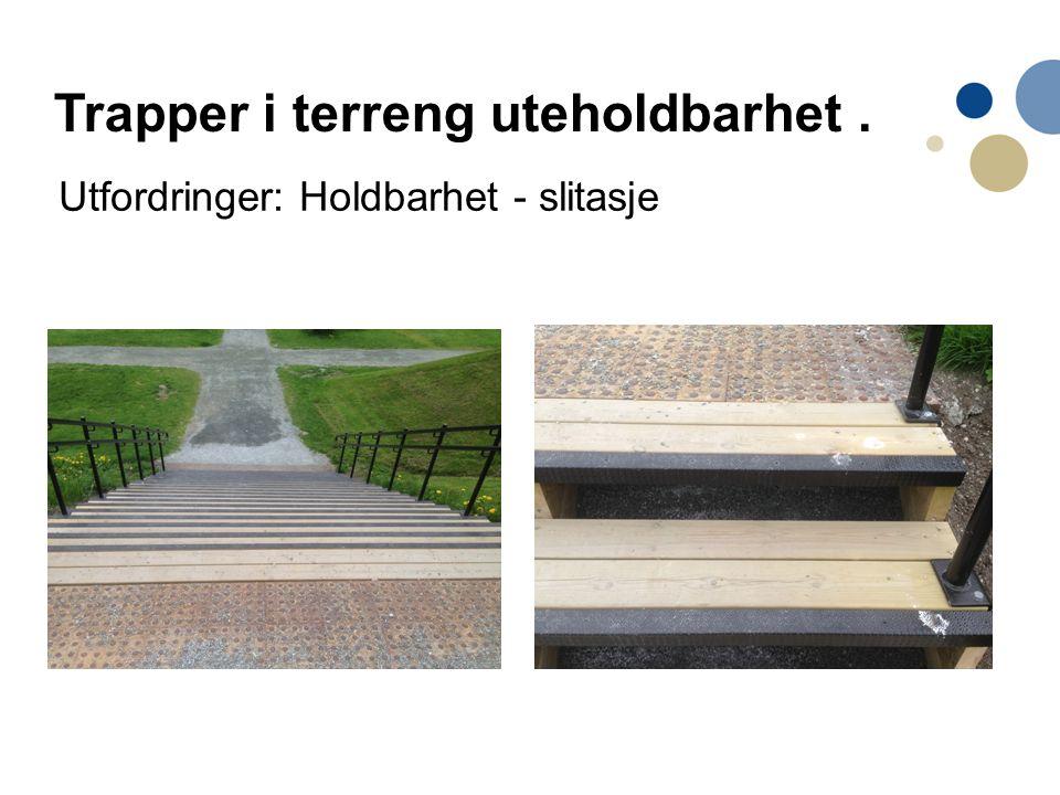 Utfordringer: Holdbarhet - slitasje Trapper i terreng uteholdbarhet.