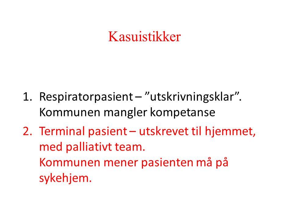 Kasuistikker 1.Respiratorpasient – utskrivningsklar .