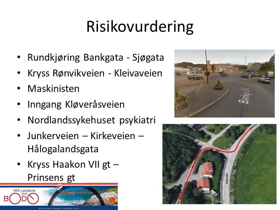 Risikovurdering Rundkjøring Bankgata - Sjøgata Kryss Rønvikveien - Kleivaveien Maskinisten Inngang Kløveråsveien Nordlandssykehuset psykiatri Junkerve