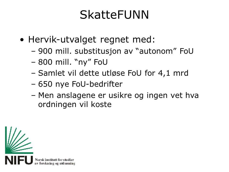 SkatteFUNN Hervik-utvalget regnet med: –900 mill. substitusjon av autonom FoU –800 mill.