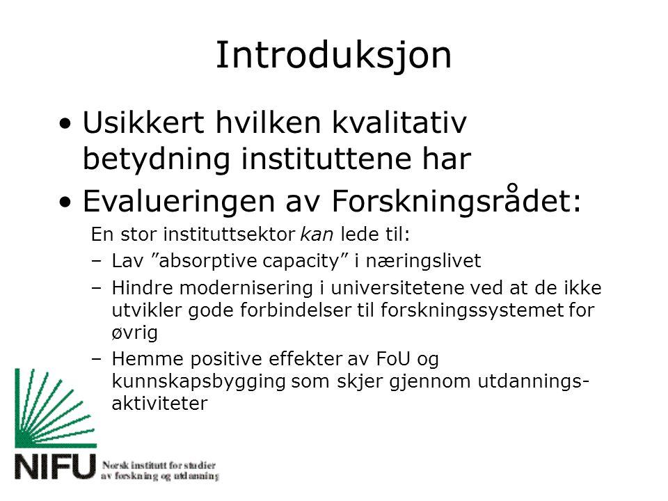 """Introduksjon Usikkert hvilken kvalitativ betydning instituttene har Evalueringen av Forskningsrådet: En stor instituttsektor kan lede til: –Lav """"absor"""