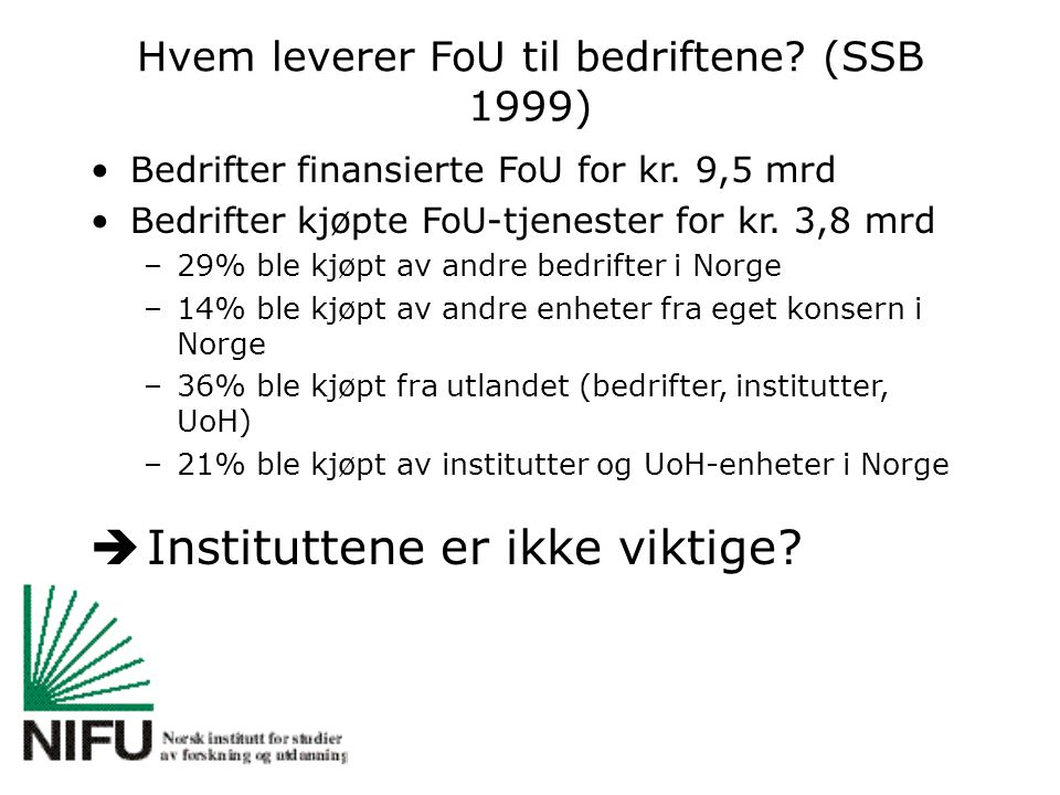 Hvem leverer FoU til bedriftene? (SSB 1999) Bedrifter finansierte FoU for kr. 9,5 mrd Bedrifter kjøpte FoU-tjenester for kr. 3,8 mrd –29% ble kjøpt av
