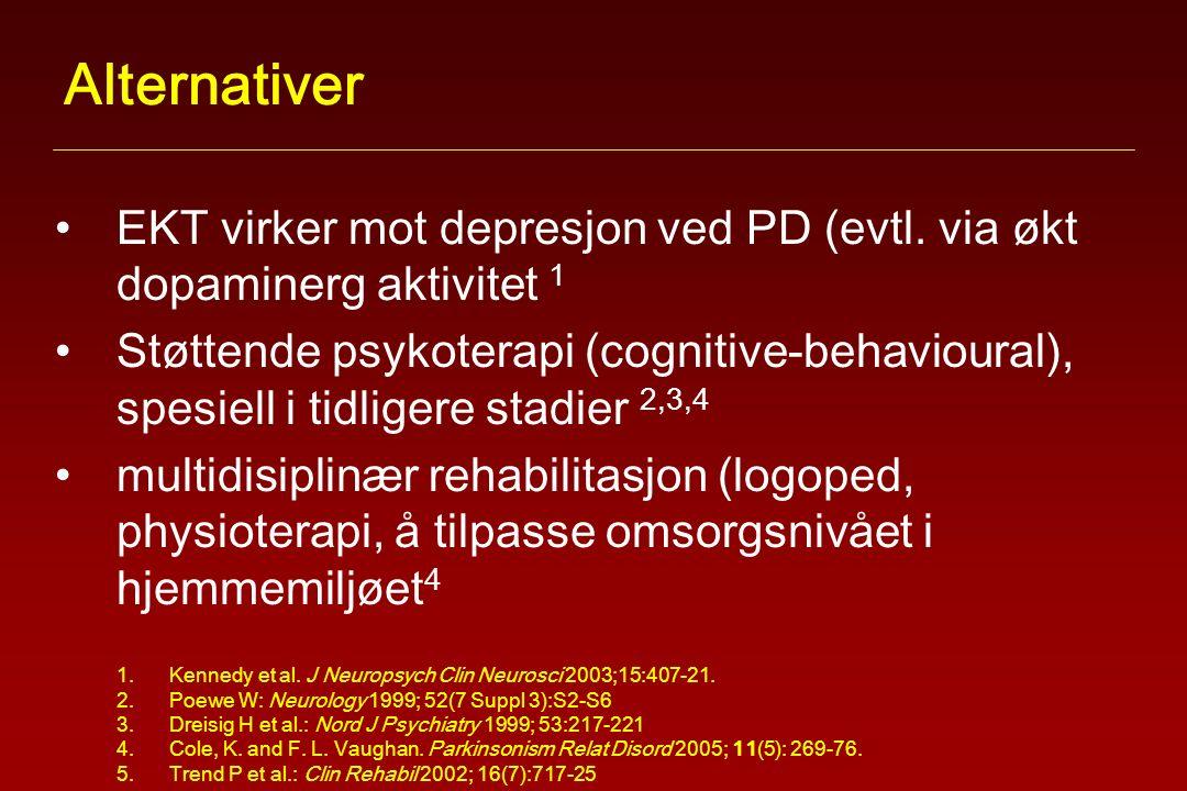 Alternativer EKT virker mot depresjon ved PD (evtl.