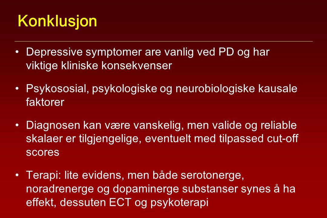 Konklusjon Depressive symptomer are vanlig ved PD og har viktige kliniske konsekvenser Psykososial, psykologiske og neurobiologiske kausale faktorer Diagnosen kan være vanskelig, men valide og reliable skalaer er tilgjengelige, eventuelt med tilpassed cut-off scores Terapi: lite evidens, men både serotonerge, noradrenerge og dopaminerge substanser synes å ha effekt, dessuten ECT og psykoterapi