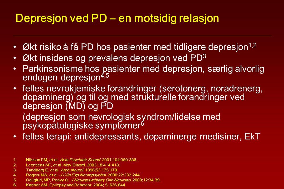 Depresjon ved PD – en motsidig relasjon Økt risiko å få PD hos pasienter med tidligere depresjon 1,2 Økt insidens og prevalens depresjon ved PD 3 Parkinsonisme hos pasienter med depresjon, særlig alvorlig endogen depresjon 4,5 felles nevrokjemiske forandringer (serotonerg, noradrenerg, dopaminerg) og til og med strukturelle forandringer ved depresjon (MD) og PD (depresjon som nevrologisk syndrom/lidelse med psykopatologiske symptomer 6 felles terapi: antidepressants, dopaminerge medisiner, EkT 1.Nilsson FM, et al.