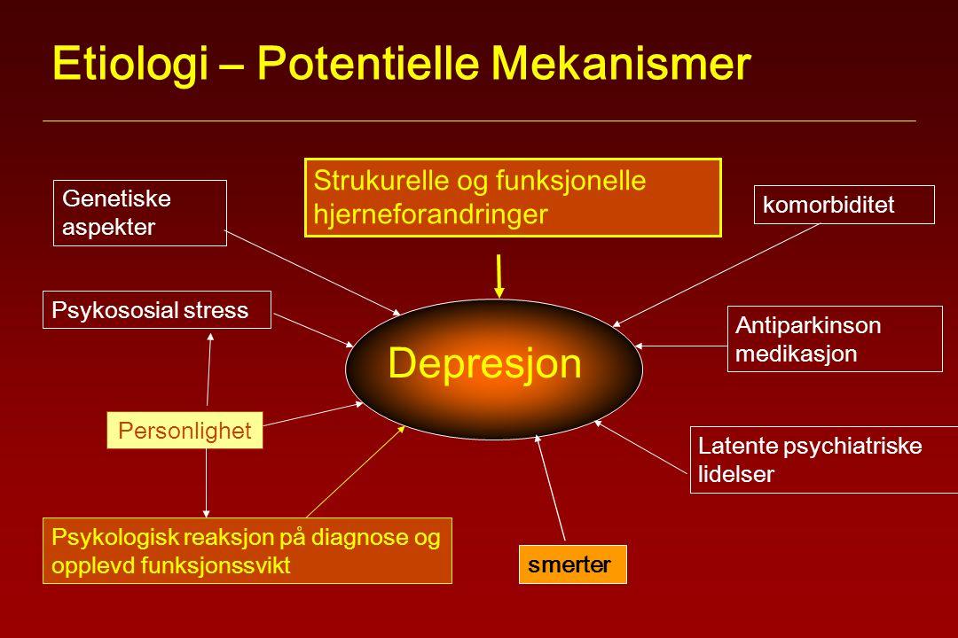 Etiologi – Potentielle Mekanismer Latente psychiatriske lidelser Genetiske aspekter Psykososial stress Strukurelle og funksjonelle hjerneforandringer Antiparkinson medikasjon Psykologisk reaksjon på diagnose og opplevd funksjonssvikt komorbiditet Depresjon Personlighet smerter