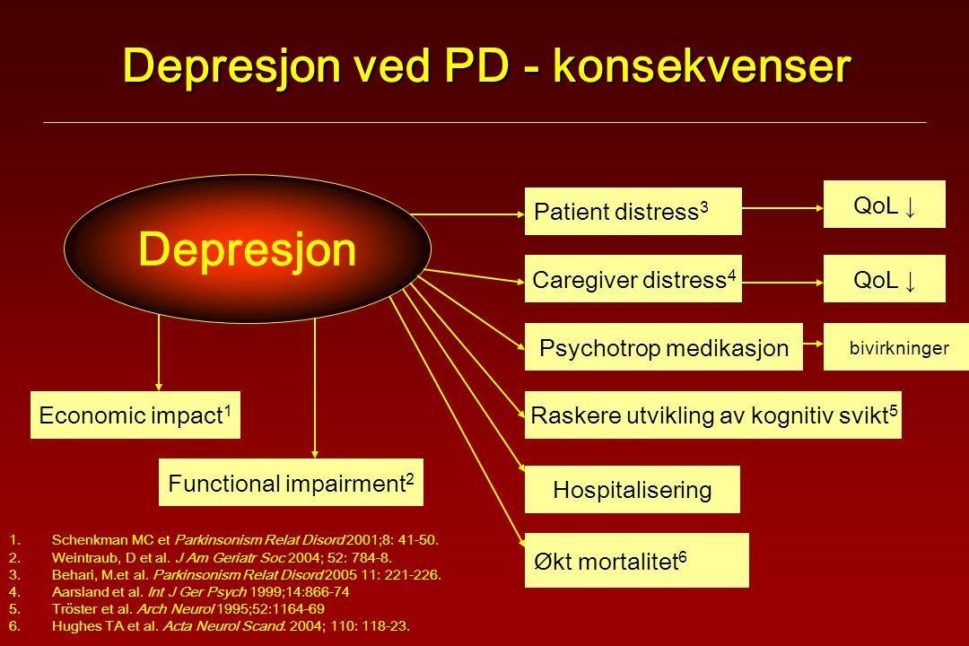 Depresjon ved PD - konsekvenser 1.Schenkman MC et Parkinsonism Relat Disord 2001;8: 41-50.