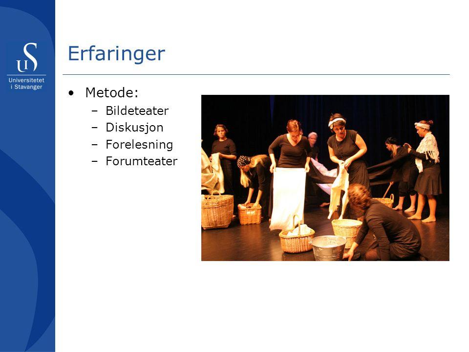 Erfaringer Metode: –Bildeteater –Diskusjon –Forelesning –Forumteater