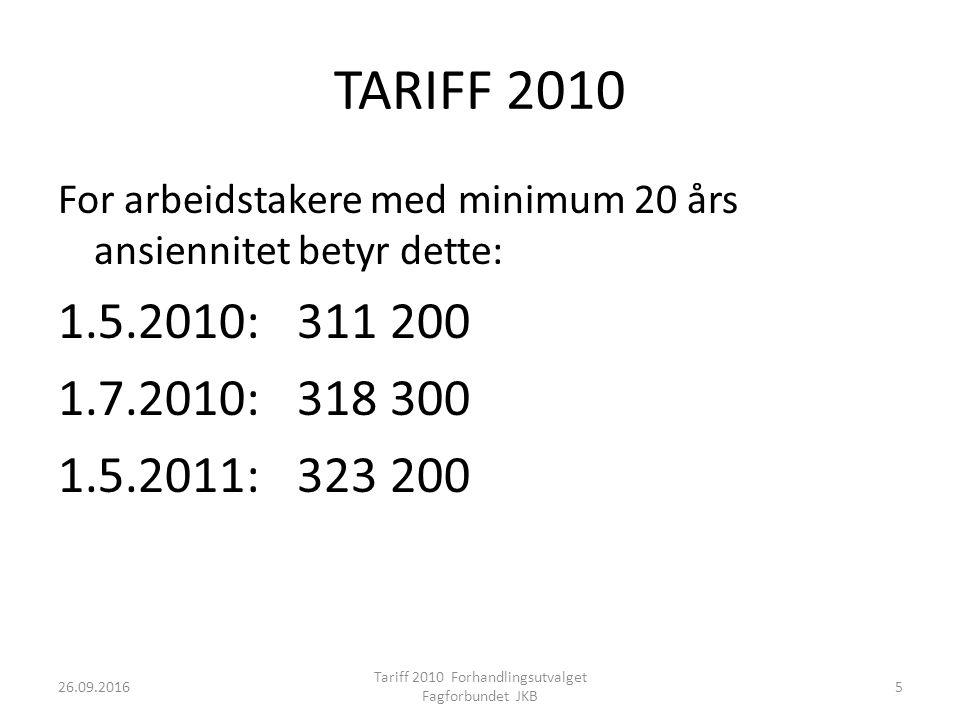 TARIFF 2010 For arbeidstakere med minimum 20 års ansiennitet betyr dette: 1.5.2010: 311 200 1.7.2010: 318 300 1.5.2011: 323 200 26.09.2016 Tariff 2010 Forhandlingsutvalget Fagforbundet JKB 5