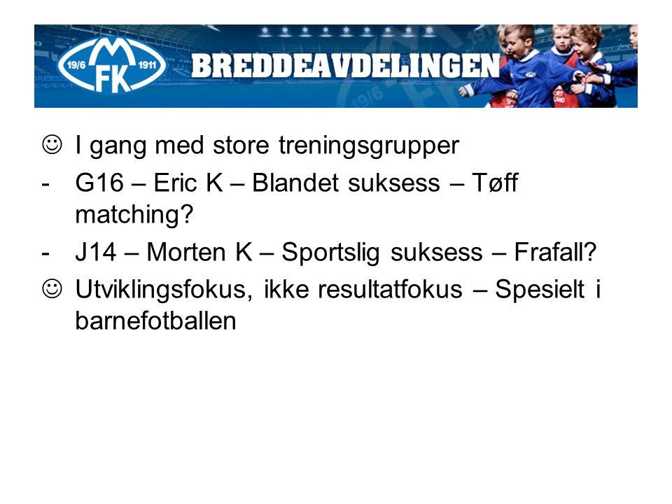 I gang med store treningsgrupper -G16 – Eric K – Blandet suksess – Tøff matching.
