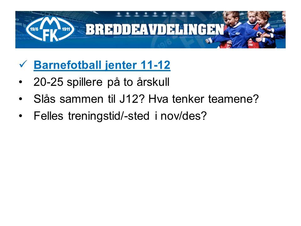 Barnefotball jenter 11-12 20-25 spillere på to årskull Slås sammen til J12.