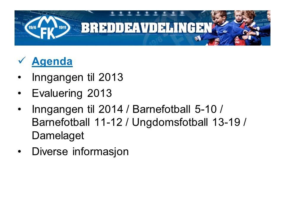 Agenda Inngangen til 2013 Evaluering 2013 Inngangen til 2014 / Barnefotball 5-10 / Barnefotball 11-12 / Ungdomsfotball 13-19 / Damelaget Diverse informasjon