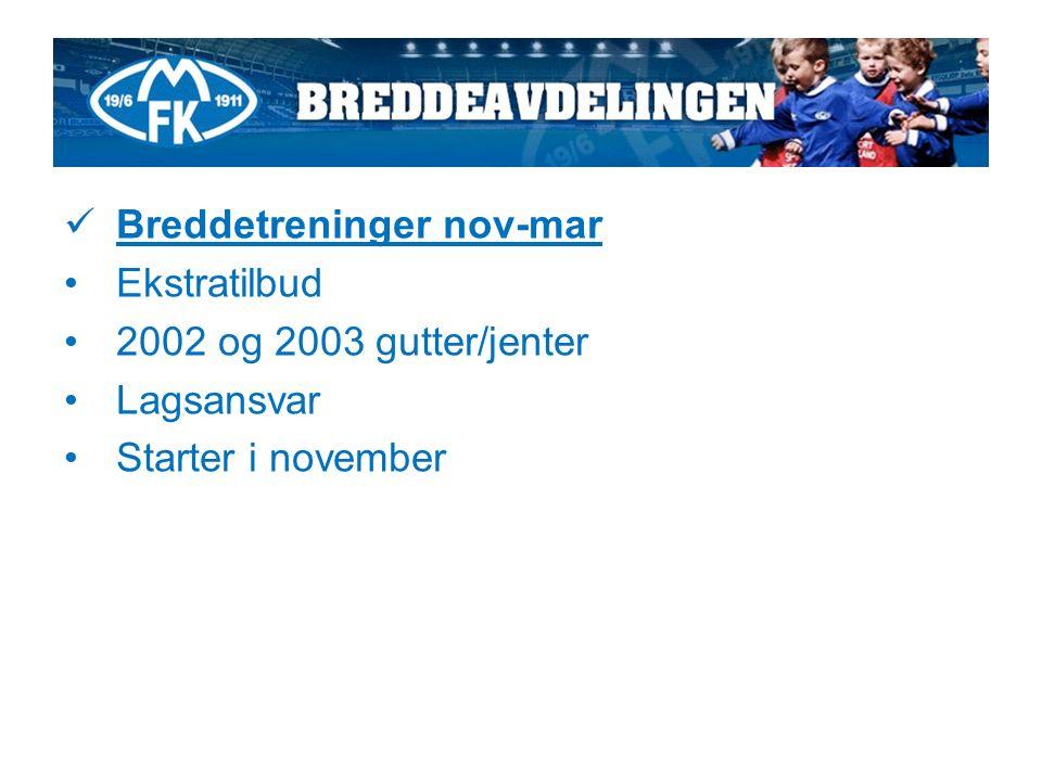 Breddetreninger nov-mar Ekstratilbud 2002 og 2003 gutter/jenter Lagsansvar Starter i november