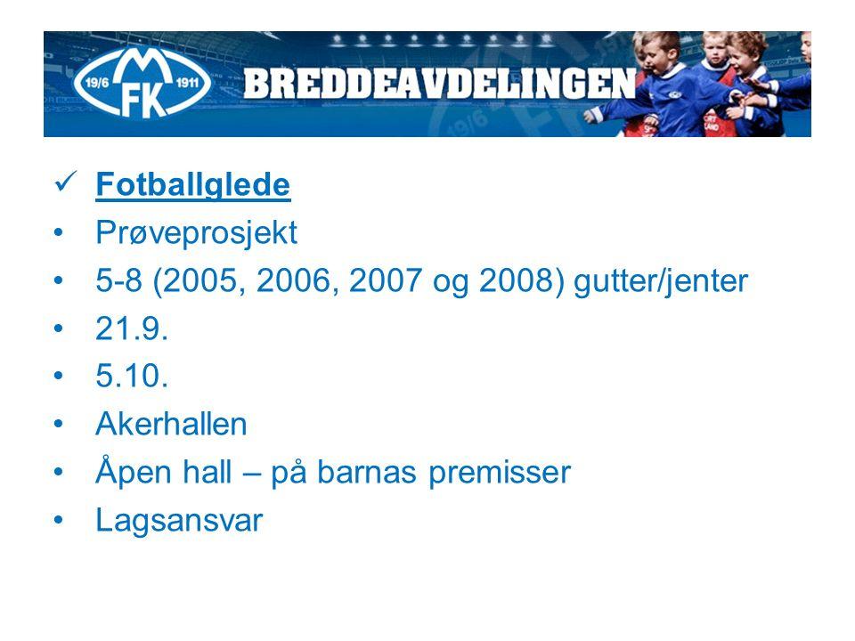 Fotballglede Prøveprosjekt 5-8 (2005, 2006, 2007 og 2008) gutter/jenter 21.9.