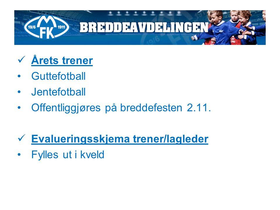 Årets trener Guttefotball Jentefotball Offentliggjøres på breddefesten 2.11.