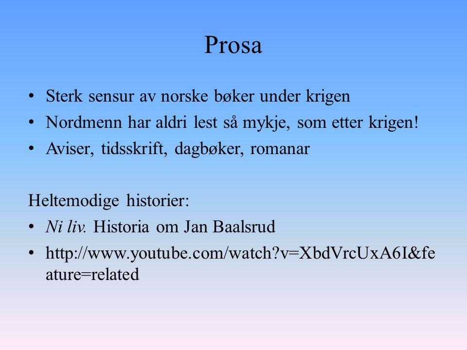 Prosa Sterk sensur av norske bøker under krigen Nordmenn har aldri lest så mykje, som etter krigen.