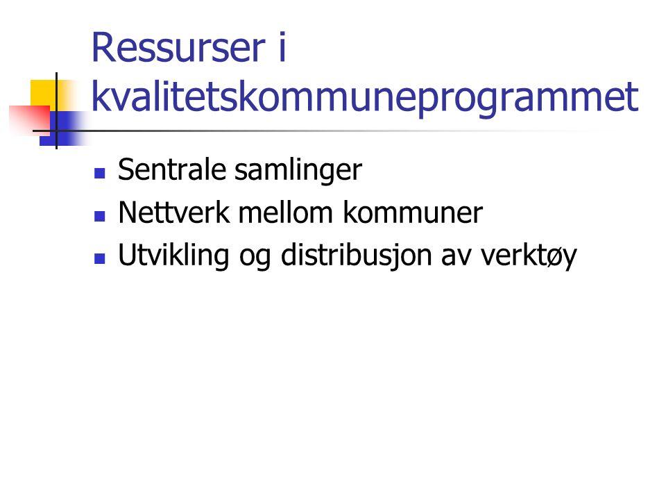 Ressurser i kvalitetskommuneprogrammet Sentrale samlinger Nettverk mellom kommuner Utvikling og distribusjon av verktøy