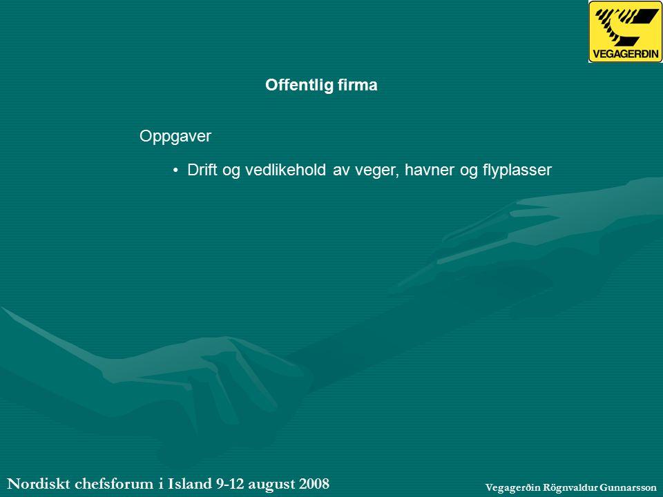 Nordiskt chefsforum i Island 9-12 august 2008 Vegagerðin Rögnvaldur Gunnarsson Offentlig firma Oppgaver Drift og vedlikehold av veger, havner og flyplasser