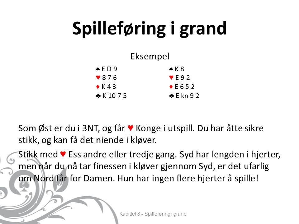 Spilleføring i grand Eksempel Som Øst er du i 3NT, og får ♥ Konge i utspill.
