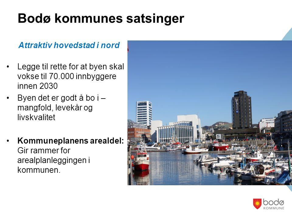Bodø kommunes satsinger Attraktiv hovedstad i nord Legge til rette for at byen skal vokse til 70.000 innbyggere innen 2030 Byen det er godt å bo i – mangfold, levekår og livskvalitet Kommuneplanens arealdel: Gir rammer for arealplanleggingen i kommunen.