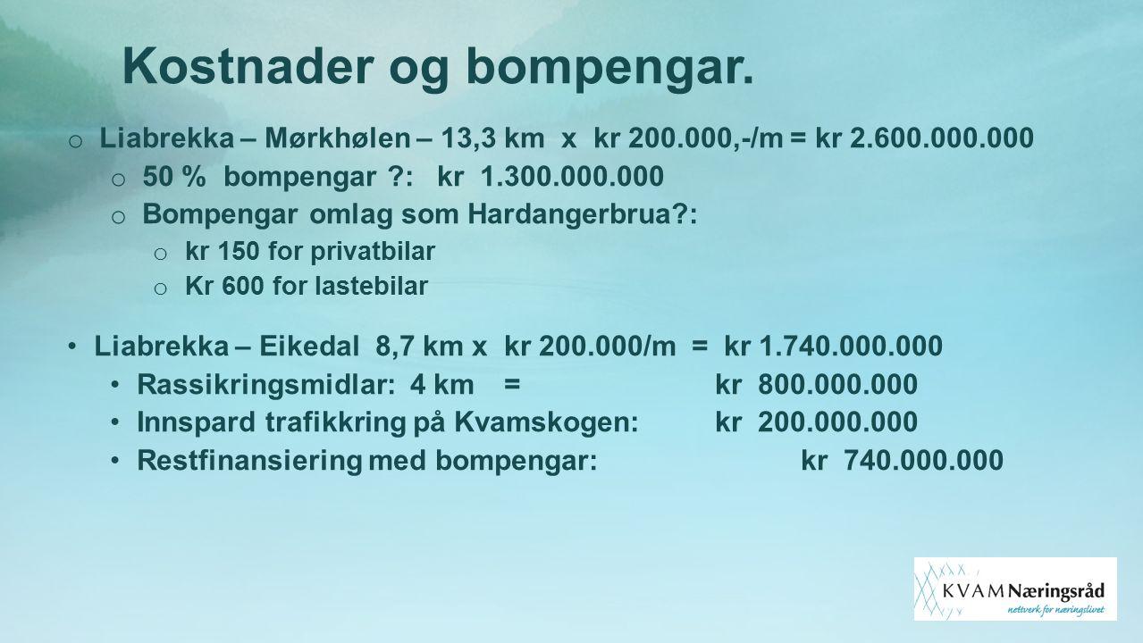 Kostnader og bompengar. o Liabrekka – Mørkhølen – 13,3 km x kr 200.000,-/m = kr 2.600.000.000 o 50 % bompengar ?: kr 1.300.000.000 o Bompengar omlag s