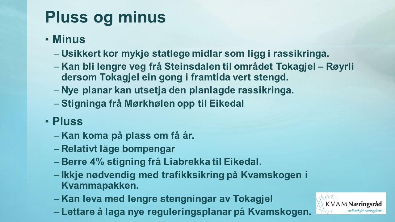 Pluss og minus Minus –Usikkert kor mykje statlege midlar som ligg i rassikringa. –Kan bli lengre veg frå Steinsdalen til området Tokagjel – Røyrli der
