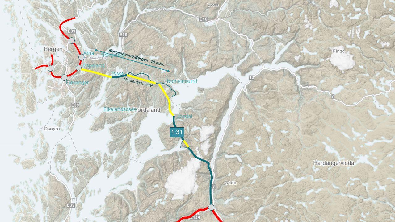 Jondal Tysse Espeland Arna Trengereid Fjøsanger Hardangertunnel 1:31 Norheimsund-Bergen 38 min. Eikelandsosen Norheimsund Laga av Helge Hopen AS for K