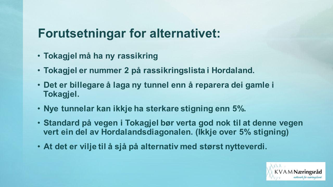 Forutsetningar for alternativet: Tokagjel må ha ny rassikring Tokagjel er nummer 2 på rassikringslista i Hordaland. Det er billegare å laga ny tunnel