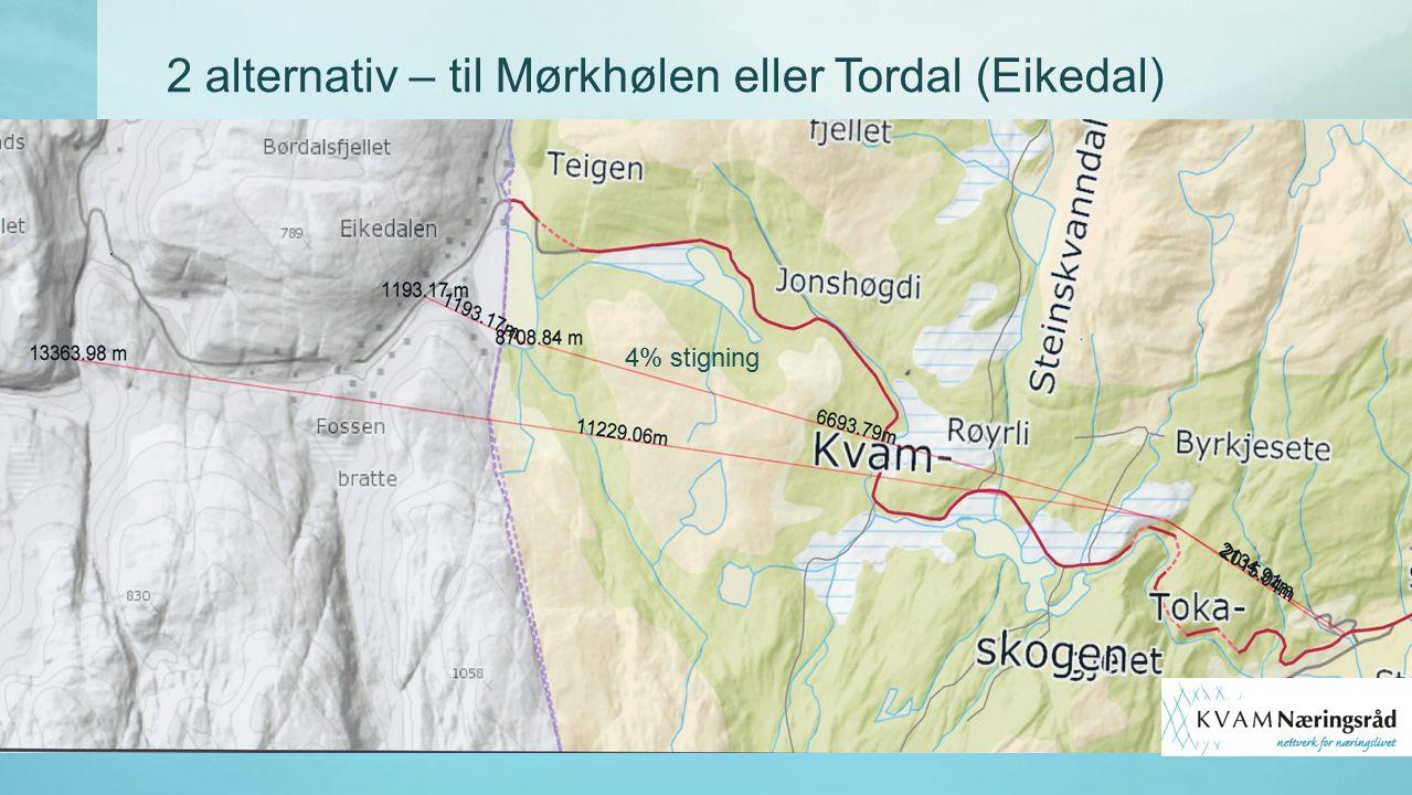 2 alternativ – til Mørkhølen eller Tordal (Eikedal) 4% stigning