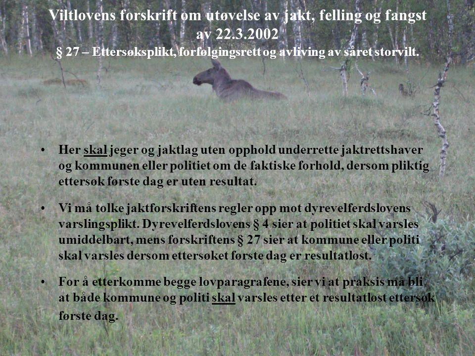 Viltlovens forskrift om utøvelse av jakt, felling og fangst av 22.3.2002 § 27 – Ettersøksplikt, forfølgingsrett og avliving av såret storvilt. Her ska