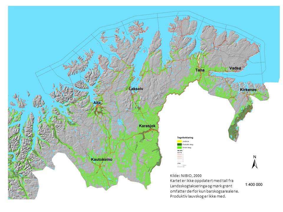 Kilde: NIBIO, 2000 Kartet er ikke oppdatert med tall fra Landsskogtakseringa og mørk grønt omfatter derfor kun barskogsarealene.