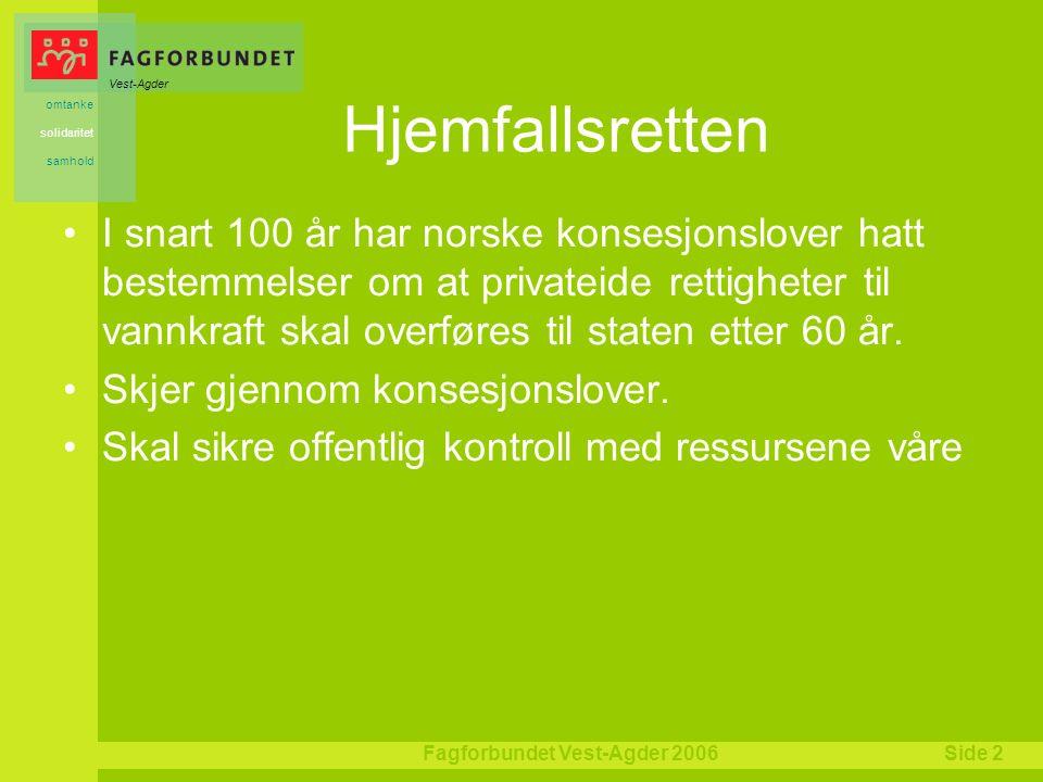 Vest-Agder omtanke solidaritet samhold Fagforbundet Vest-Agder 2006Side 2 Hjemfallsretten I snart 100 år har norske konsesjonslover hatt bestemmelser om at privateide rettigheter til vannkraft skal overføres til staten etter 60 år.