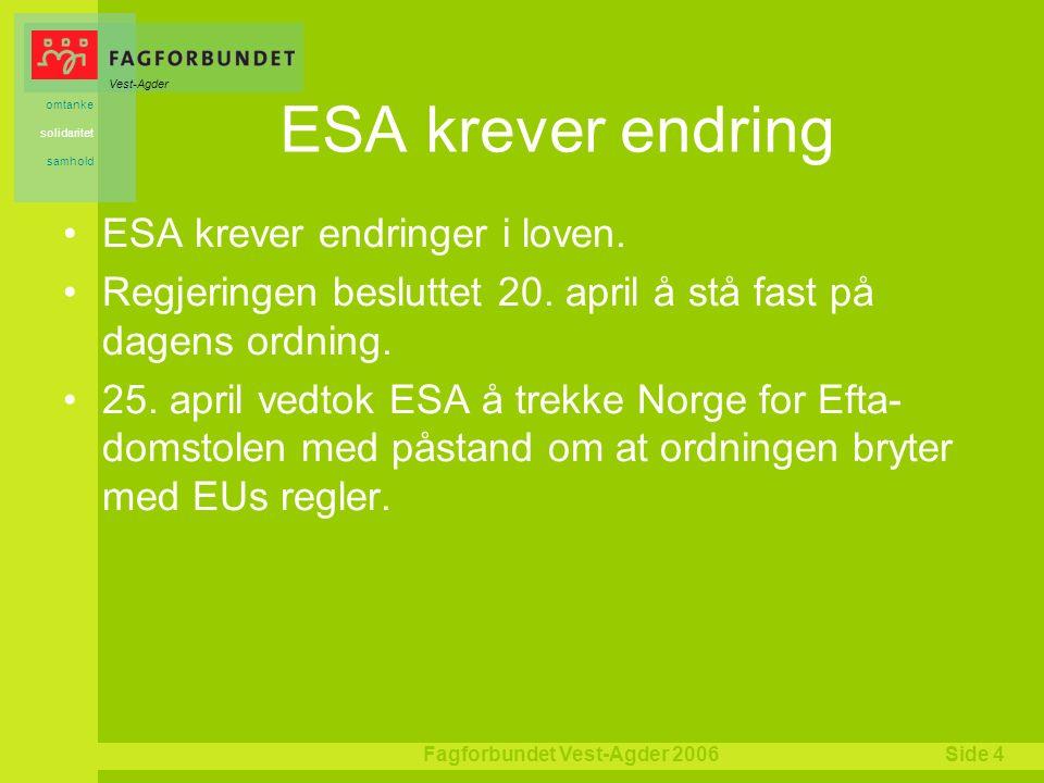 Vest-Agder omtanke solidaritet samhold Fagforbundet Vest-Agder 2006Side 4 ESA krever endring ESA krever endringer i loven.