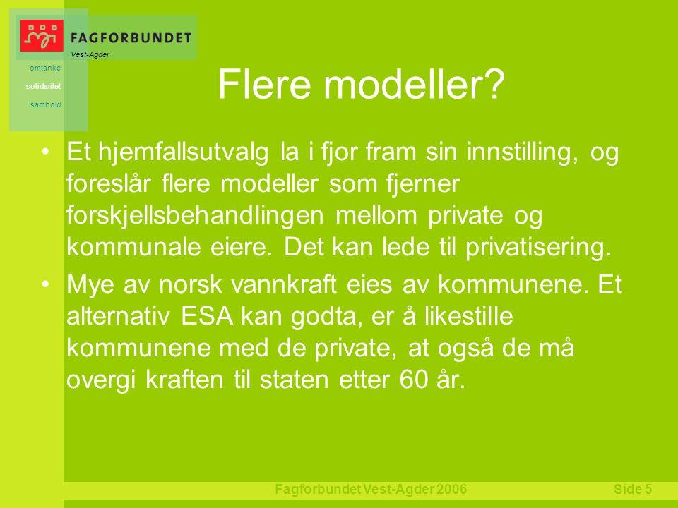 Vest-Agder omtanke solidaritet samhold Fagforbundet Vest-Agder 2006Side 5 Flere modeller.