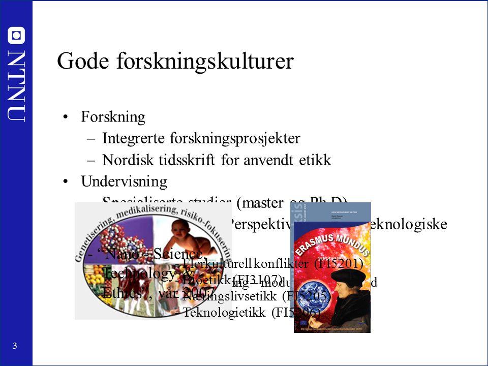3 Gode forskningskulturer Forskning –Integrerte forskningsprosjekter –Nordisk tidsskrift for anvendt etikk Undervisning –Spesialiserte studier (master og Ph.D) –Spesialiserte fag – Perspektivemne/ikke-teknologiske fag –Obligatoriske kurs Integrert undervisning – moduler i lavere grad Ph.D utdanningen - Flerkulturell konflikter (FI5201) - Bioetikk (FI3107) - Næringslivsetikk (FI5205) - Teknologietikk (FI5206) - Nano - Science, Technology & Ethics , vår 2007