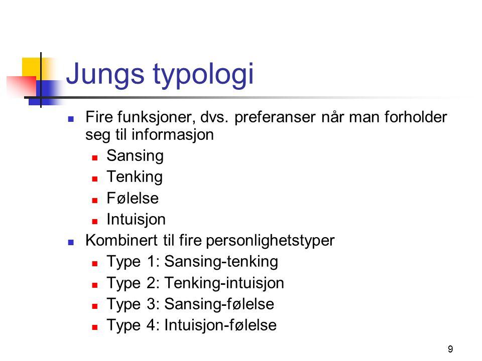 9 Jungs typologi Fire funksjoner, dvs.
