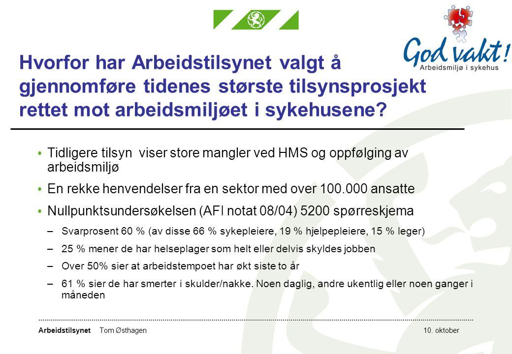 Arbeidstilsynet10.oktoberTom Østhagen Hvor har vi vært og hva har vi gjort i sykehusene.