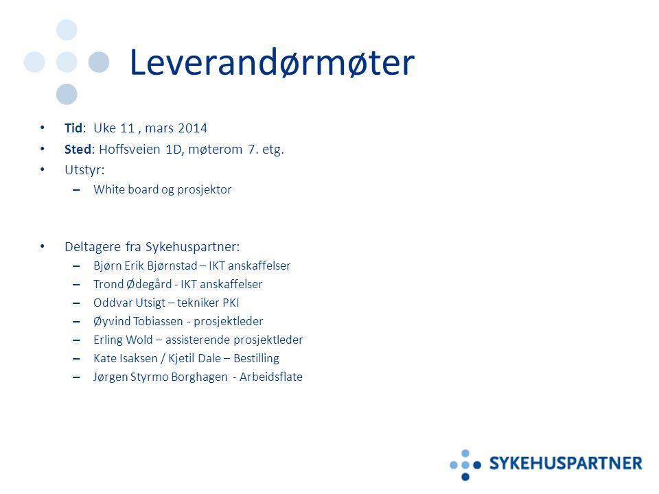 Leverandørmøter Tid: Uke 11, mars 2014 Sted: Hoffsveien 1D, møterom 7. etg. Utstyr: – White board og prosjektor Deltagere fra Sykehuspartner: – Bjørn