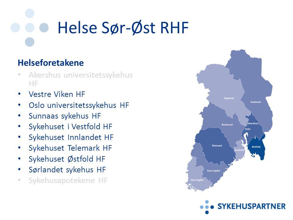 Helse Sør-Øst RHF Helseforetakene Akershus universitetssykehus HF Vestre Viken HF Oslo universitetssykehus HF Sunnaas sykehus HF Sykehuset i Vestfold